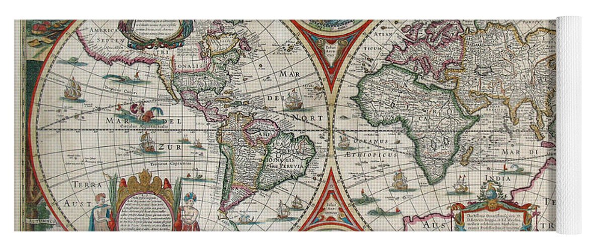Antique maps old cartographic maps antique map of the world in antique world map yoga mat featuring the drawing antique maps old cartographic maps antique gumiabroncs Gallery