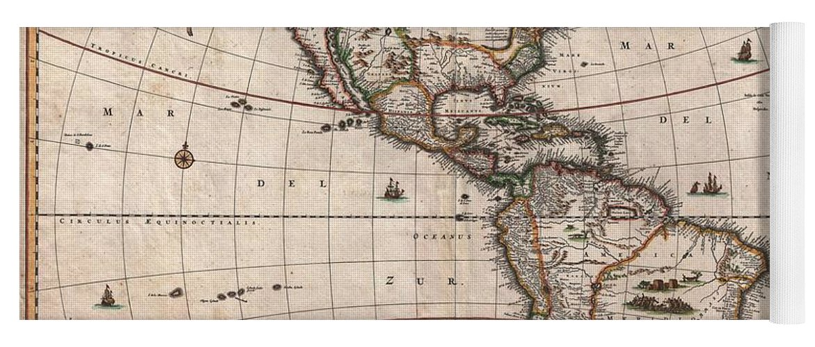 Antique Map Of North America Yoga Mat featuring the drawing Antique Maps - Old Cartographic maps - Antique Map of North and South America, 1658 by Studio Grafiikka