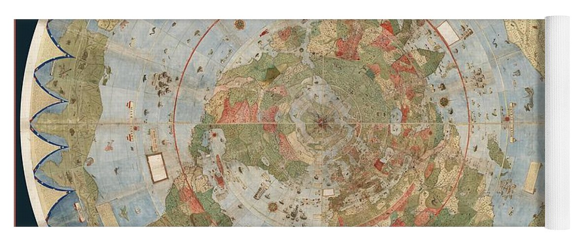 Antique maps old cartographic maps flat earth map map of the flat earth map yoga mat featuring the drawing antique maps old cartographic maps flat gumiabroncs Images