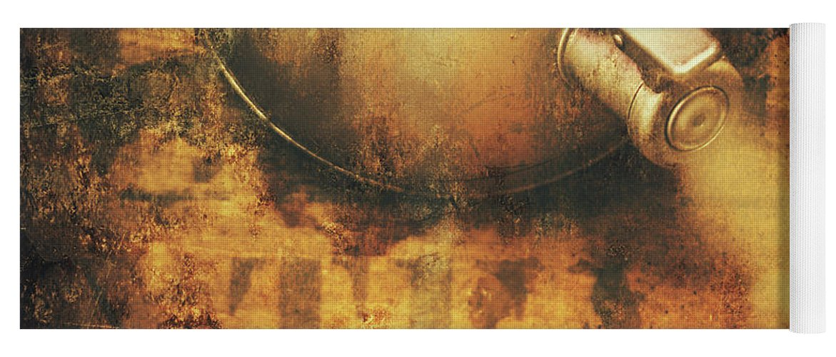 Old Yoga Mat featuring the photograph Antique Old Tea Metal Sign. Rusted Drinks Artwork by Jorgo Photography - Wall Art Gallery