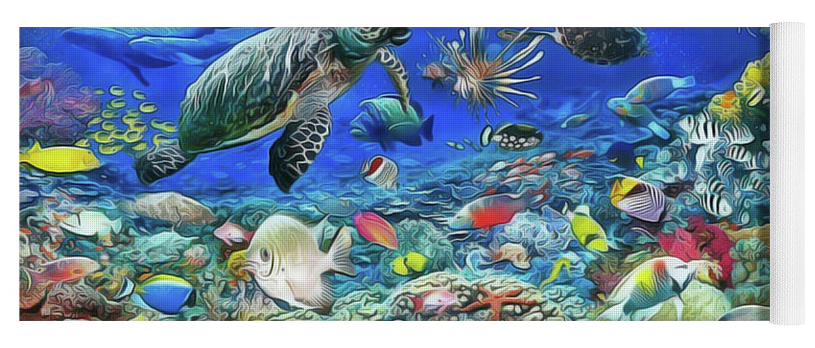 Aquarium Yoga Mat featuring the painting Aquarium by Harry Warrick