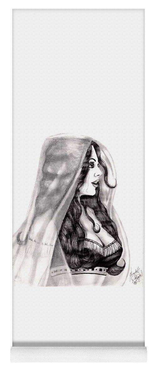 Figure Yoga Mat featuring the drawing Arabian Beauty by Scarlett Royal