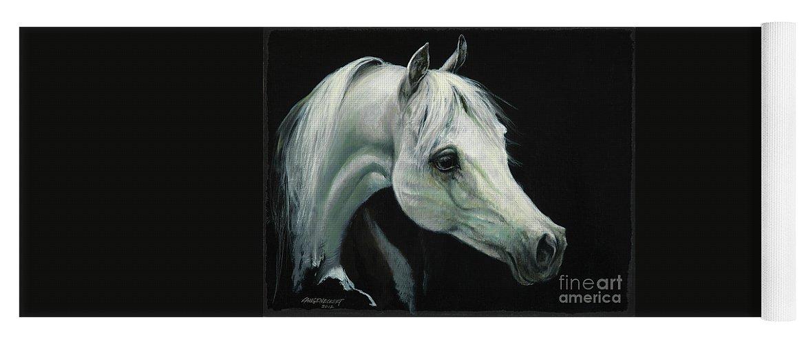 Don Langeneckert Yoga Mat featuring the painting Arabian Horse Head by Don Langeneckert