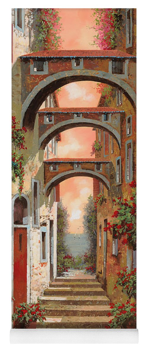 Arches Yoga Mat featuring the painting Archetti In Rosso by Guido Borelli