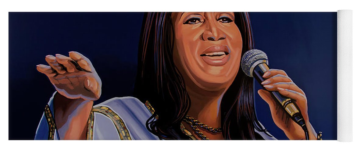Aretha Franklin Yoga Mat featuring the painting Aretha Franklin Painting by Paul Meijering