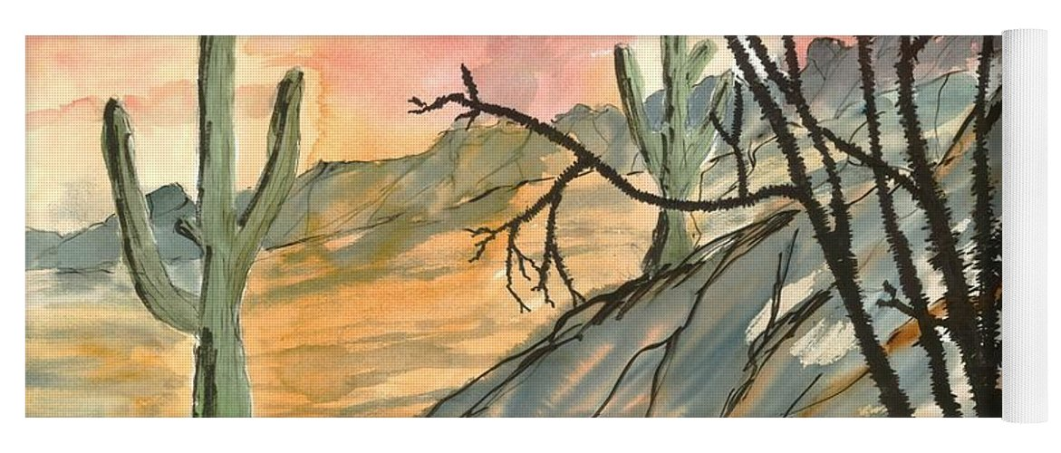 Drawing Yoga Mat featuring the painting Arizona Evening Southwestern landscape painting poster print by Derek Mccrea