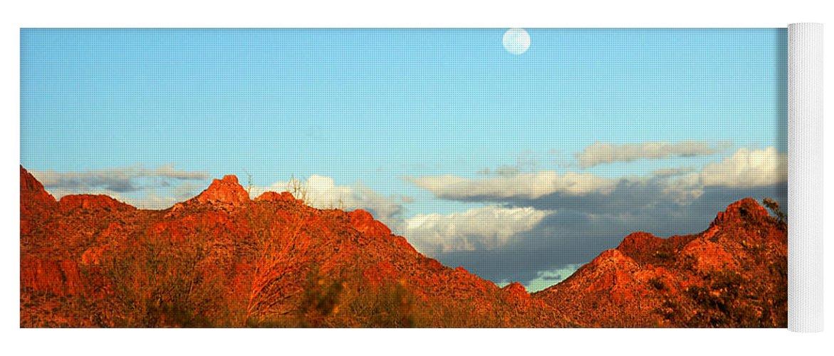 Arizona Moon Yoga Mat featuring the photograph Arizona Moon by Susanne Van Hulst