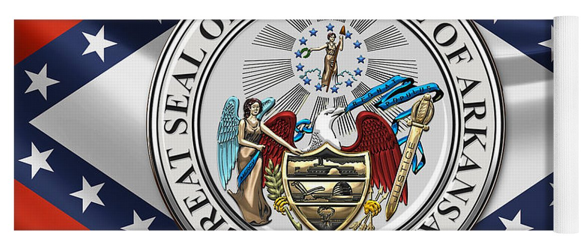arkansas state seal over flag yoga mat for sale by serge averbukh