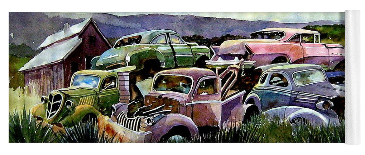Cars Yoga Mat featuring the painting Art In The Orchard by Ron Morrison