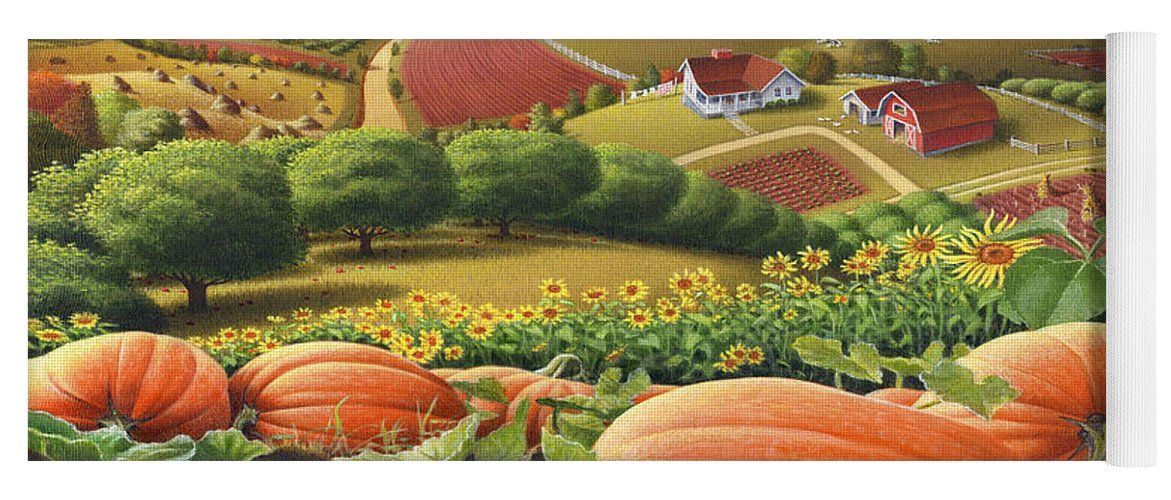 Pumpkin Yoga Mat featuring the painting Farm Landscape - Autumn Rural Country Pumpkins Folk Art - Appalachian Americana - Fall Pumpkin Patch by Walt Curlee