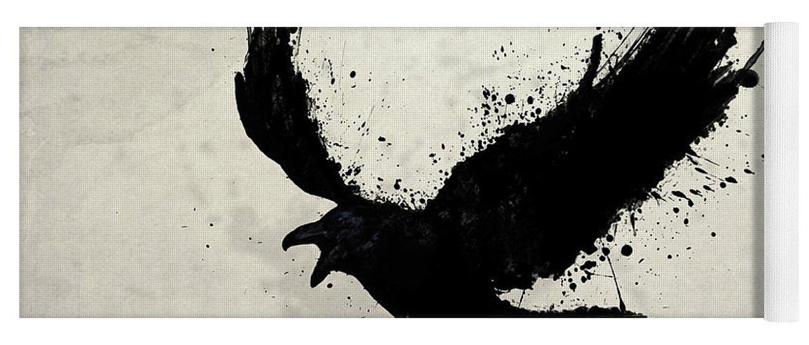 Raven Yoga Mat featuring the digital art Raven by Nicklas Gustafsson
