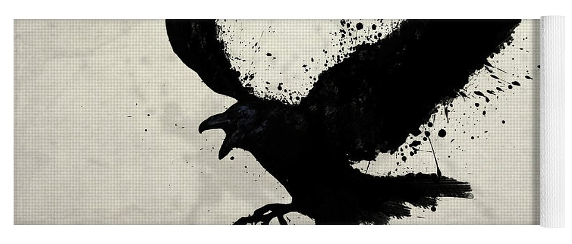 Raven Yoga Mat featuring the digital art Raven by Nicklas Gustafsson