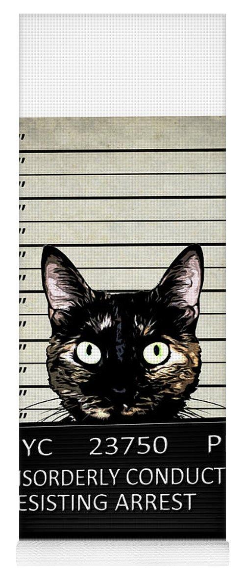 Cat Yoga Mat featuring the mixed media Kitty Mugshot by Nicklas Gustafsson