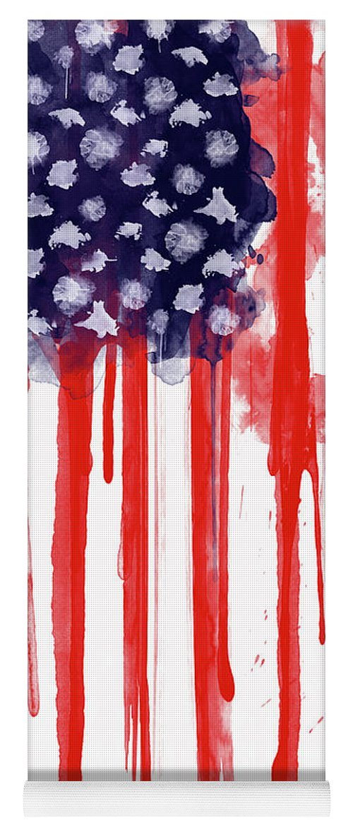 America Yoga Mat featuring the painting American Spatter Flag by Nicklas Gustafsson