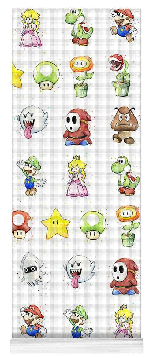 Mario Yoga Mat featuring the painting Mario Characters in Watercolor by Olga Shvartsur