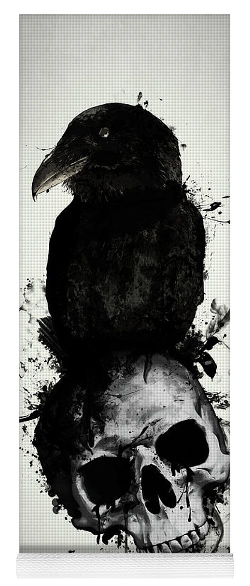 Raven Yoga Mat featuring the mixed media Raven and Skull by Nicklas Gustafsson