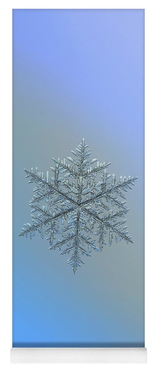 Snowflake Yoga Mat featuring the photograph Snowflake Photo - Majestic Crystal by Alexey Kljatov