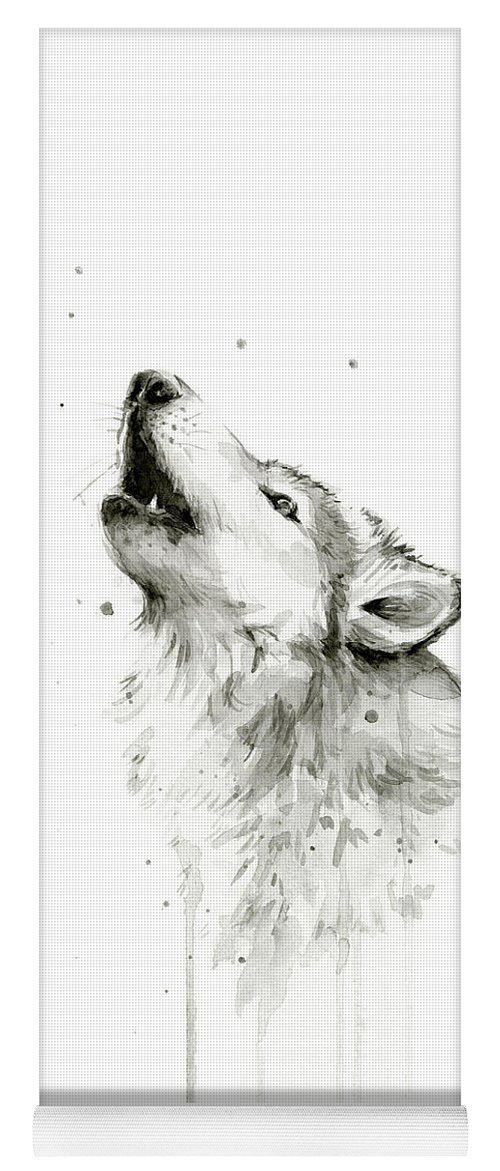 Watercolor Yoga Mat featuring the painting Howling Wolf Watercolor by Olga Shvartsur