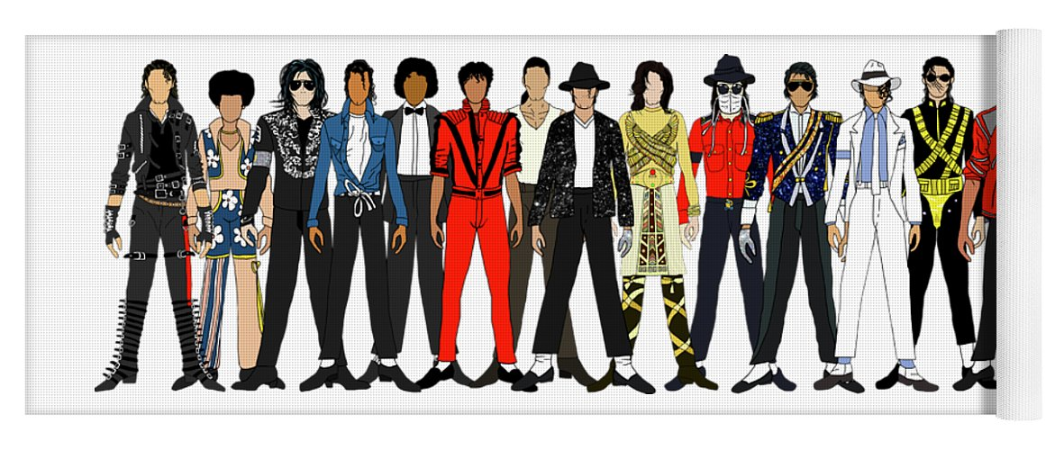 Michael Jackson Yoga Mat featuring the digital art Outfits of Michael Jackson by Notsniw Art