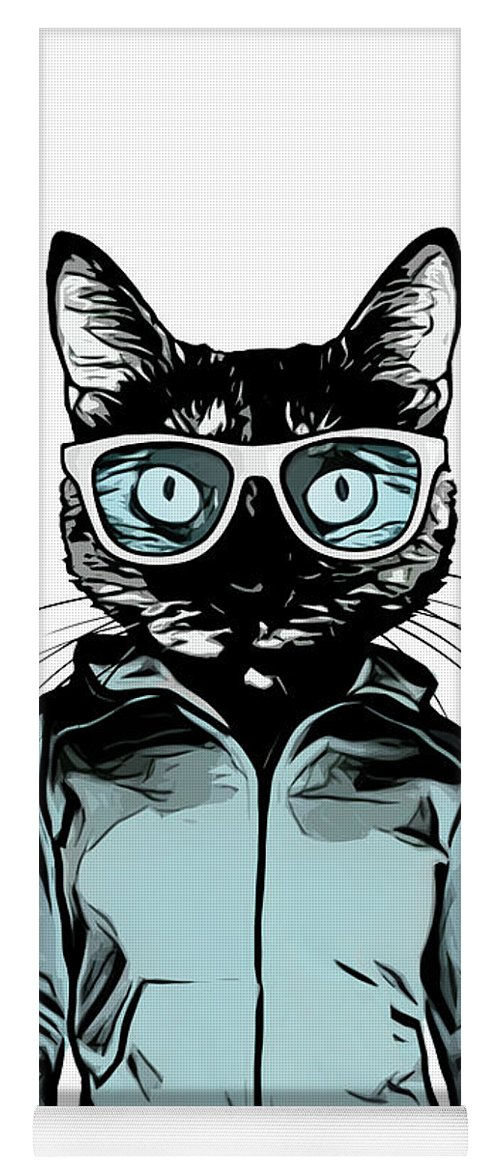 Cat Yoga Mat featuring the mixed media Cool Cat by Nicklas Gustafsson