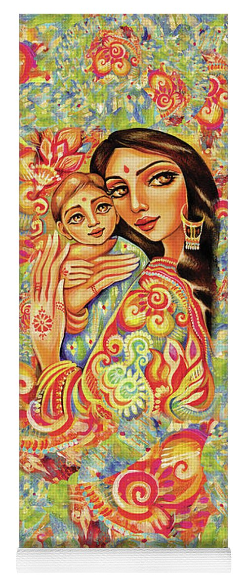 Mother And Child Yoga Mat featuring the painting Goddess Blessing by Eva Campbell