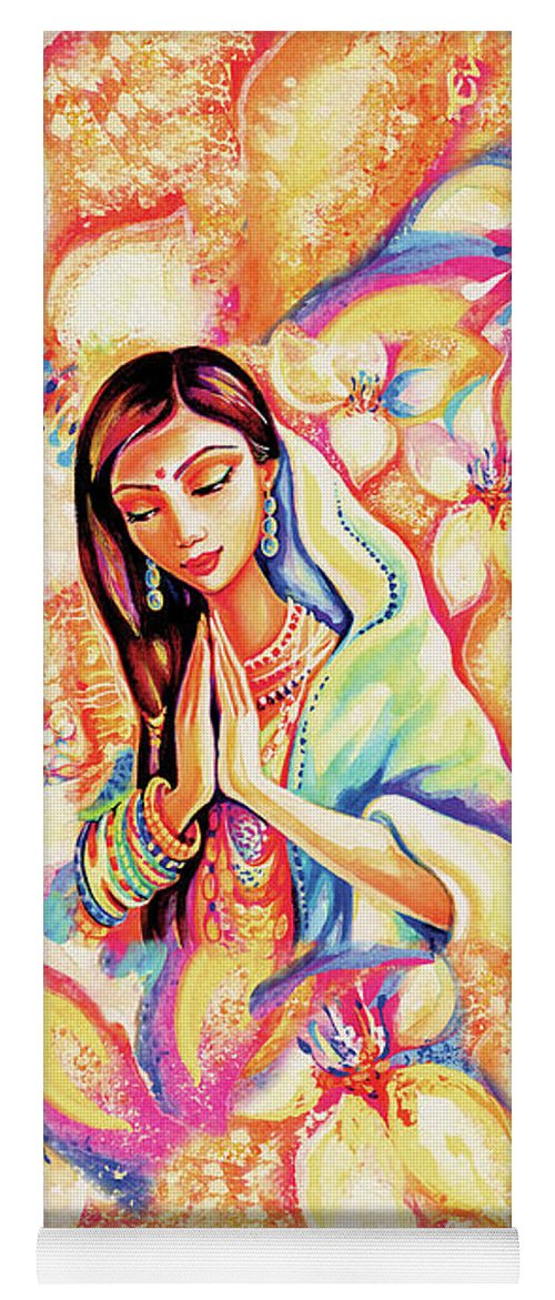 Praying Woman Yoga Mat featuring the painting Little Himalayan Pray by Eva Campbell