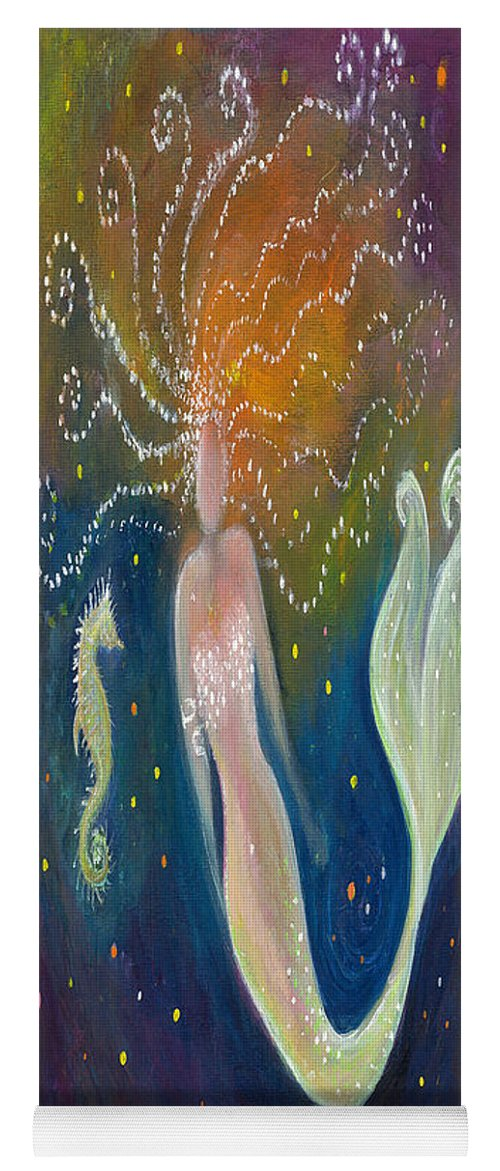Mermaid Yoga Mat featuring the painting The Wish - Mermaid And Seahorse by Lily Nava