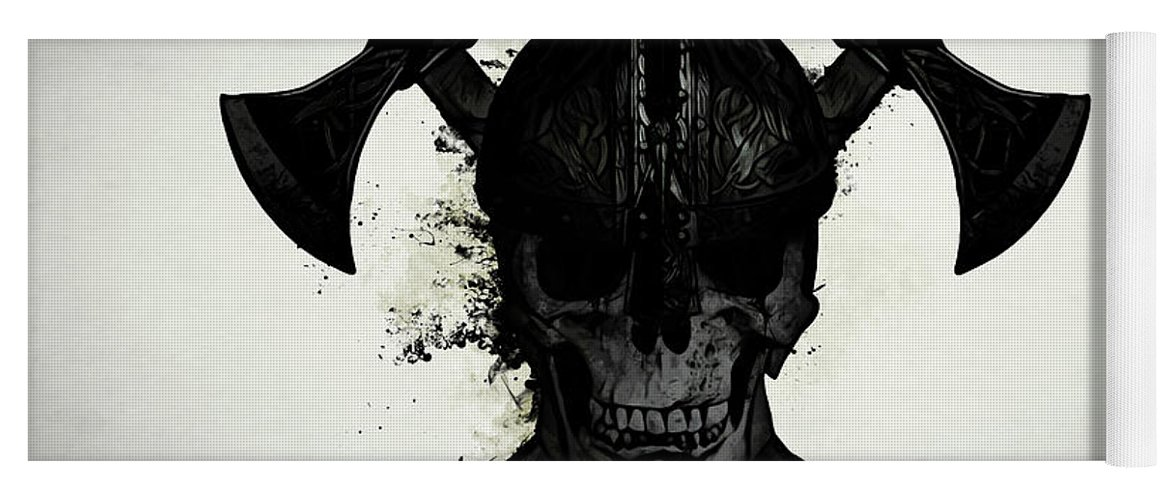 Viking Yoga Mat featuring the digital art Viking Skull by Nicklas Gustafsson