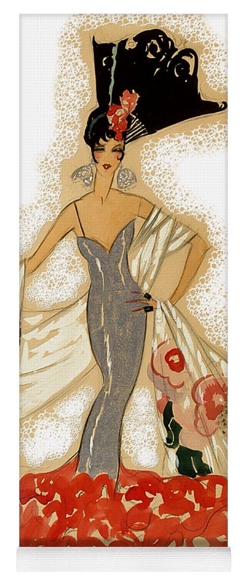 Robert Kernodle Vintage Women Fashions Yoga Mat featuring the digital art Elegant Woman by Robert G Kernodle