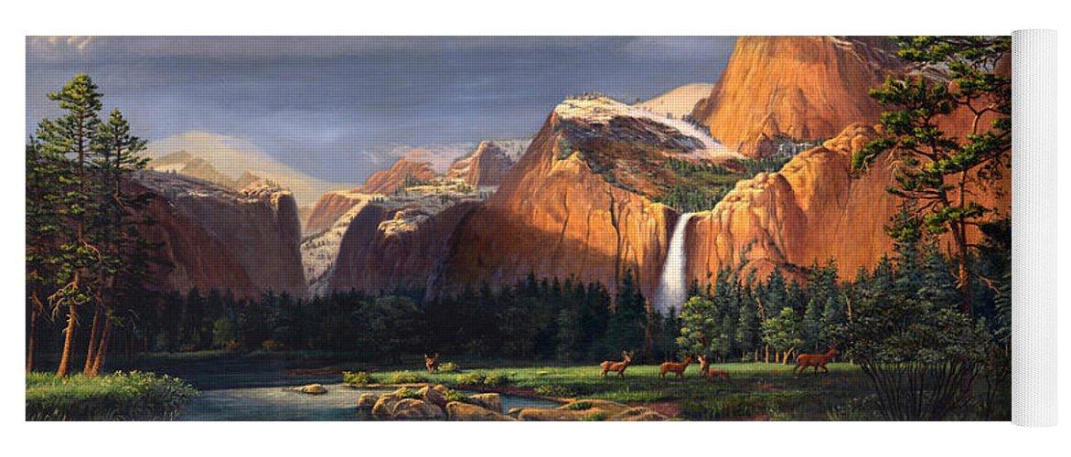 American Yoga Mat featuring the painting Deer Meadow Mountains Western Stream Deer Waterfall Landscape Oil Painting Stormy Sky Snow Scene by Walt Curlee
