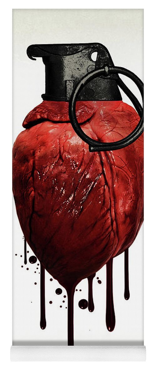 Heart Yoga Mat featuring the mixed media Heart Grenade by Nicklas Gustafsson