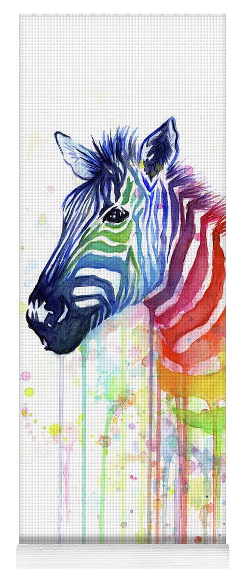 Rainbow Yoga Mat featuring the painting Rainbow Zebra - Ode to Fruit Stripes by Olga Shvartsur