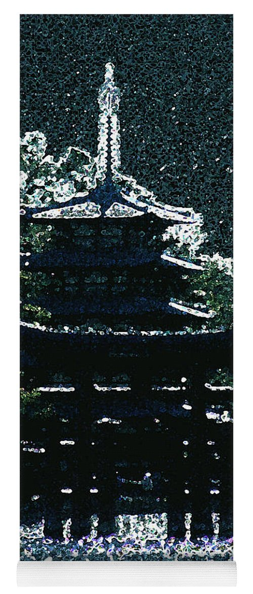 Full Moon Yoga Mat featuring the mixed media Asian Moon by Shirley Heyn