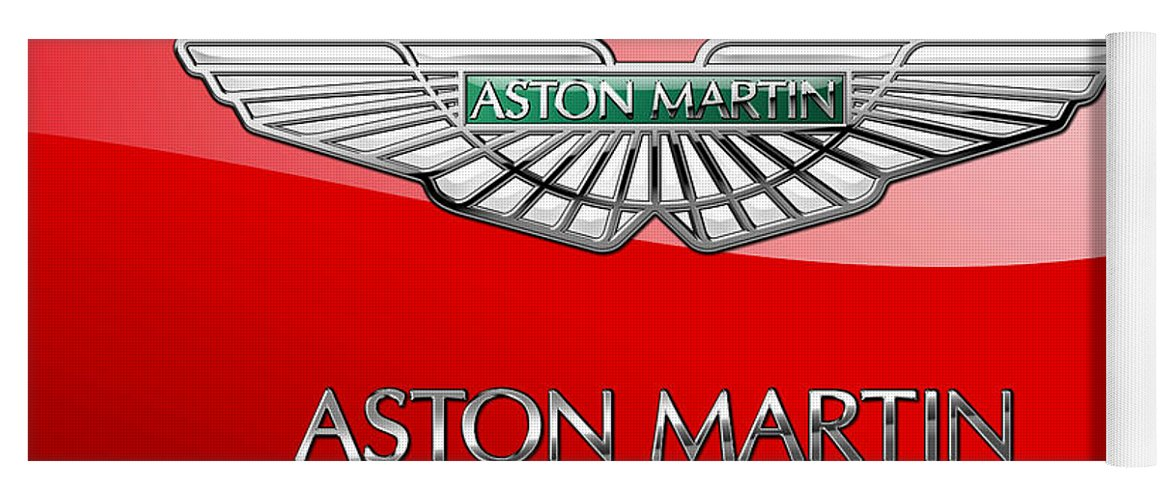 Wheels Of Fortune� Collection By Serge Averbukh Yoga Mat featuring the photograph Aston Martin - 3 D Badge on Red by Serge Averbukh
