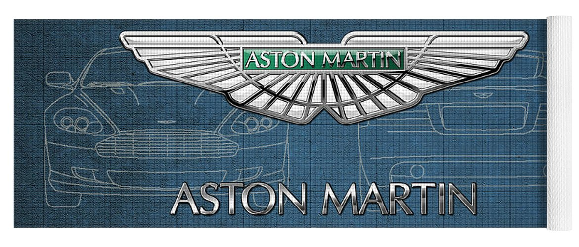 Wheels Of Fortune By Serge Averbukh Yoga Mat featuring the photograph Aston Martin 3 D Badge over Aston Martin D B 9 Blueprint by Serge Averbukh