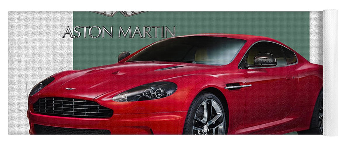 �aston Martin� By Serge Averbukh Yoga Mat featuring the photograph Aston Martin D B S V 12 with 3 D Badge by Serge Averbukh