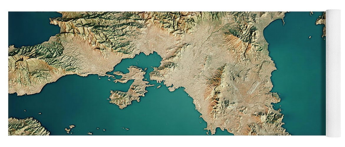 Attica Greece 3d Render Satellite View Topographic Map Yoga Mat For