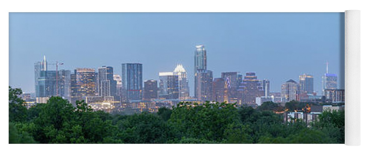 Austin Yoga Mat featuring the photograph Austin Texas Building Skyline After The The Lights Are On by PorqueNo Studios