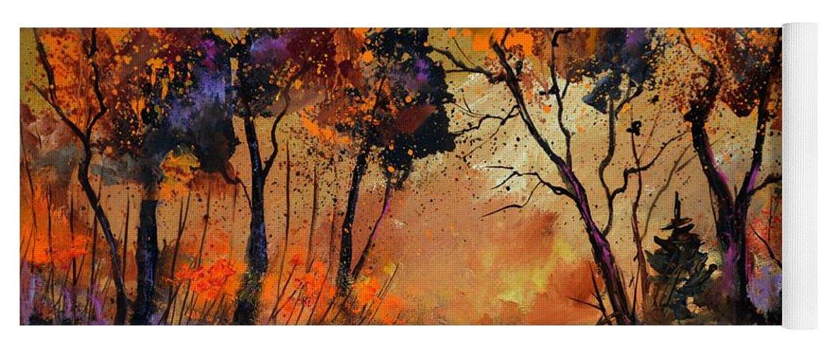 Landscape Yoga Mat featuring the painting Autumn 766130 by Pol Ledent