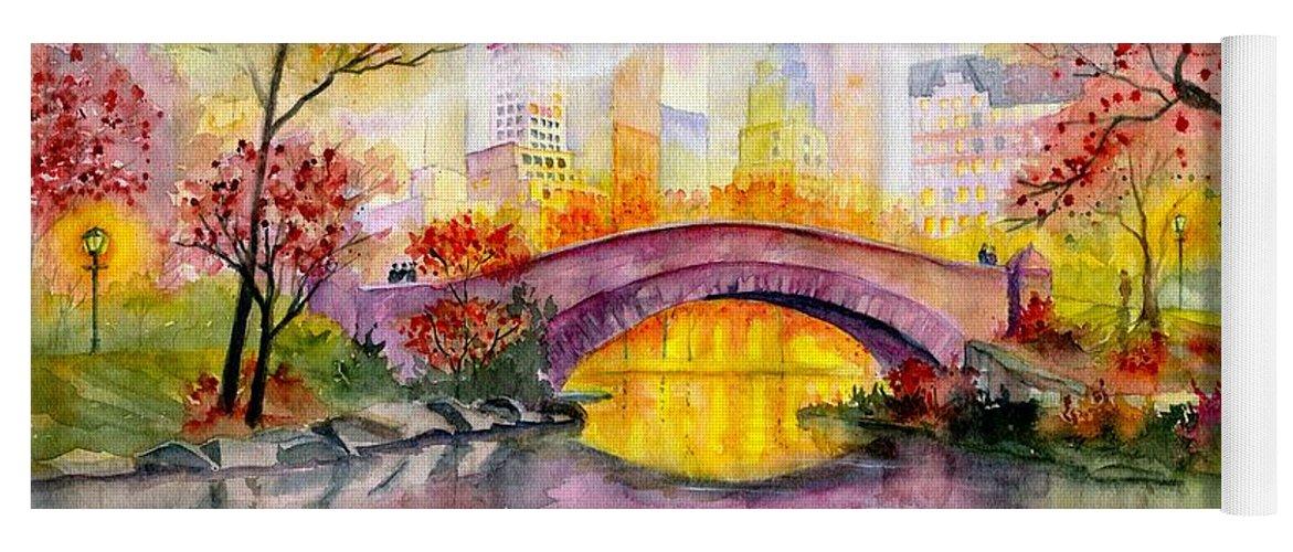 Autumn At Gapstow Bridge Central Park Yoga Mat featuring the painting Autumn at Gapstow Bridge Central Park by Melly Terpening