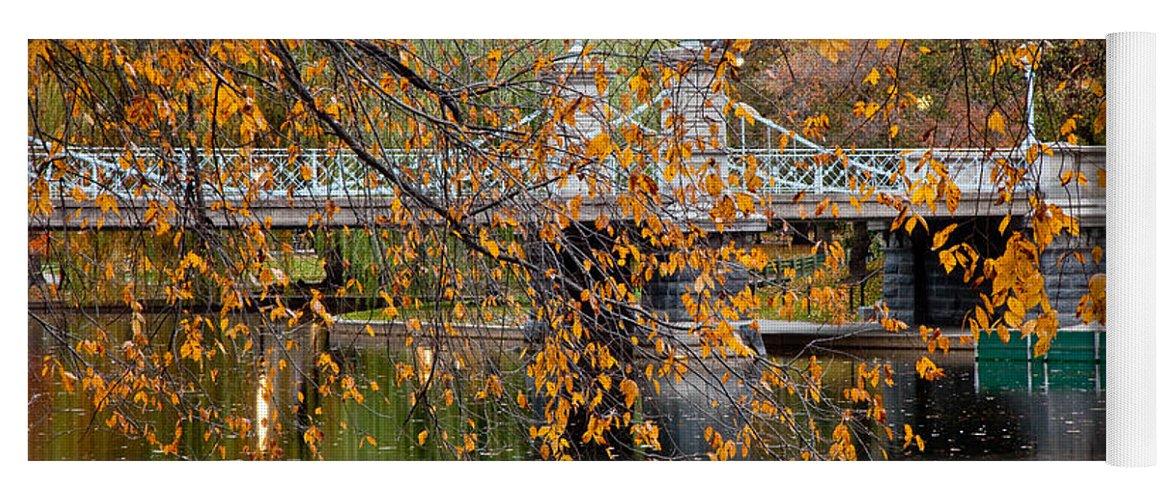 Autumn Yoga Mat featuring the photograph Autumn Bridge by Susan Cole Kelly