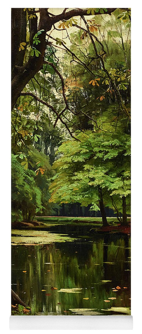 Peder Mork Monsted Yoga Mat featuring the painting Autumn Day In The Forest by Peder Mork Monsted