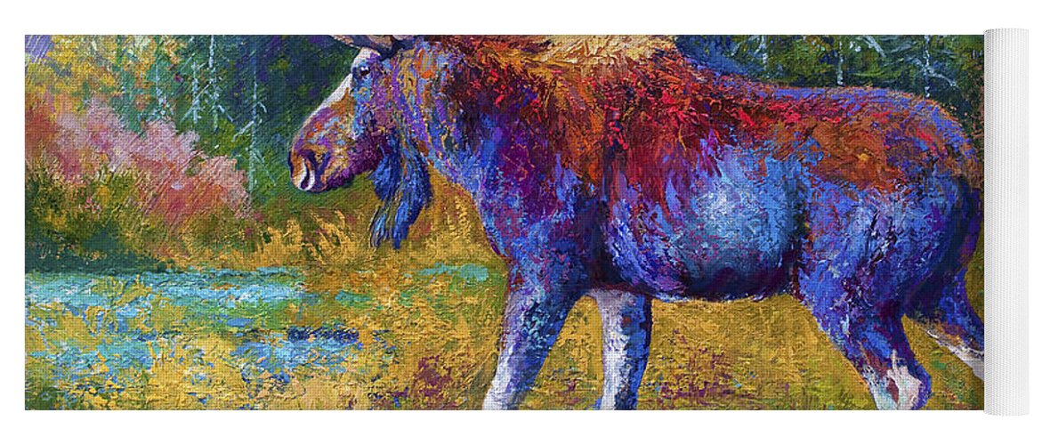 Moose Yoga Mat featuring the painting Autumn Glimpse by Marion Rose