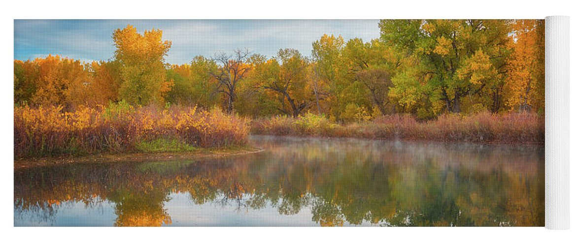 Colorado Yoga Mat featuring the photograph Autumn Pond by Darren White