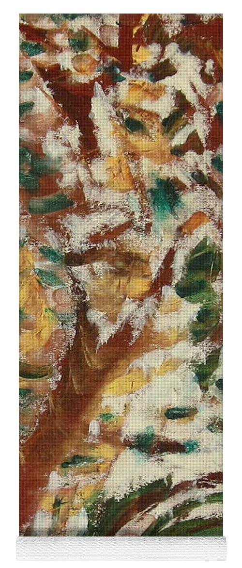 Fall Yoga Mat featuring the painting Autumn Snow II by Patricia Cleasby