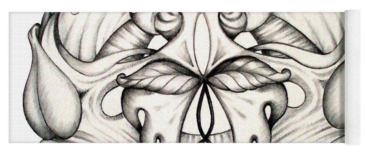 Mandala Yoga Mat featuring the drawing Awakening by Shadia Derbyshire