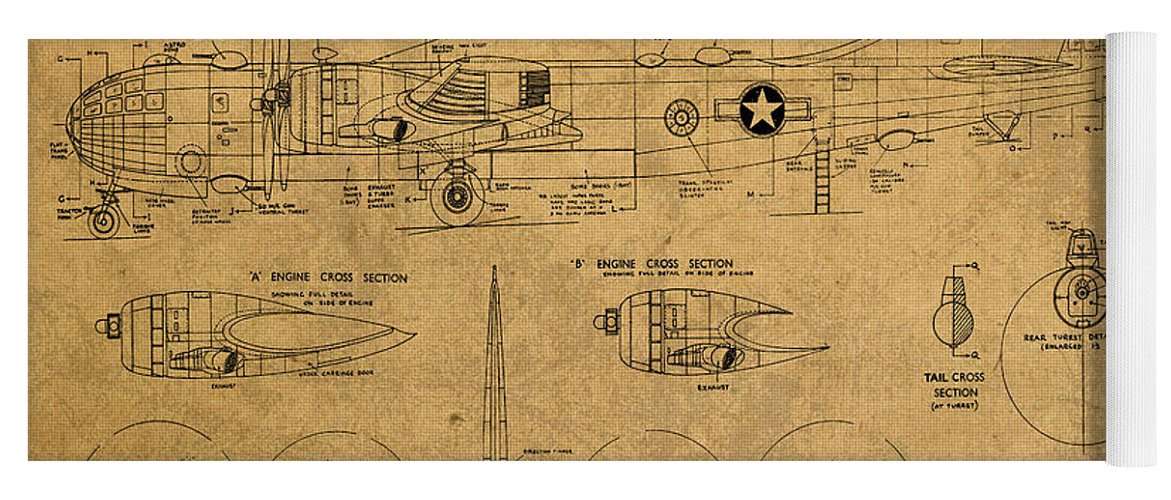 B29 Yoga Mat featuring the mixed media B29 Superfortress Military Plane World War Two Schematic Patent Drawing On Worn Distressed Canvas by Design Turnpike