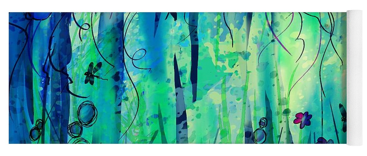 Abstract Yoga Mat featuring the digital art Backyard Dreamer by William Russell Nowicki