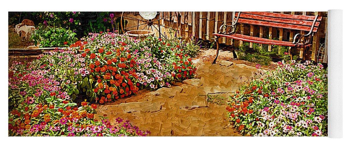 Pink Flower Yoga Mat featuring the digital art Backyard Garden by Paul Bartoszek