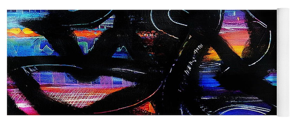 Original Painting On Canvas .abstract Yoga Mat featuring the painting Badass Black by Priscilla Batzell Expressionist Art Studio Gallery